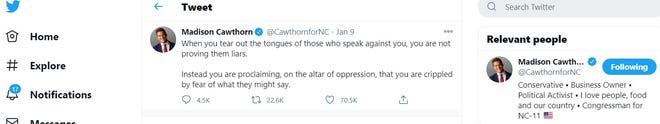 """U.S. Rep. Madison Cawthorn used a quote from the HBO show """"Game of Thrones"""" in a recent tweet, without attribution."""