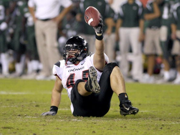 Linebacker Ryan Manalac of the  Cincinnati Bearcats against the University of South Florida Bulls at Raymond James Stadium on November 3, 2007 in Tampa, Florida.