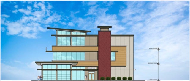Shelby's Trio, shown in an artist rendering from front elevation.