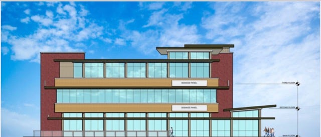 Side elevation artist rendering of Shelby's Trio of restaurants, coming this year to downtown Clarksville.