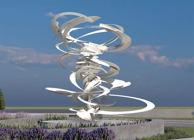 """New York City-based artist Alice Aycock plans to install her sculpture """"Lift Off"""" at the new street entrance to Des Moines International Airport later this year."""