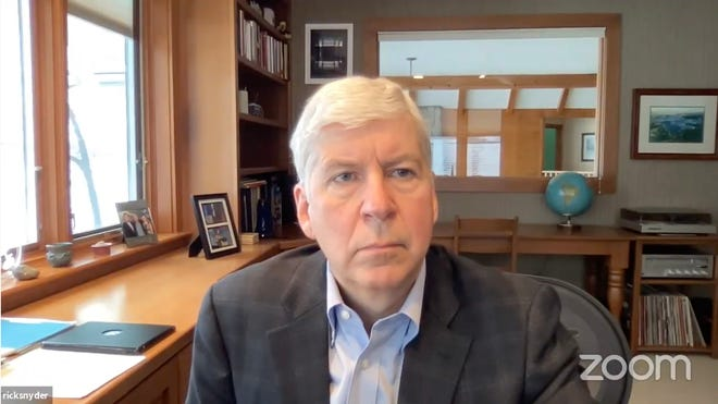 Former Michigan governor Rick Snyder appears at a hearing regarding his role in the Flint Water Crisis on Tuesday, Jan. 19, 2021 at the 67th District Court in Genesee County. Snyder is charged with two counts of willful neglect of duty, a misdemeanor.
