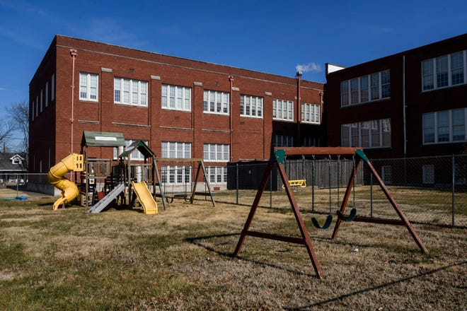 The old Henry Reis school building off of Stringtown Road in Evansville, Ind., is pictured on Tuesday, Jan. 19, 2021. It was built in 1914 to serve the city's growing North Side and is currently for sale for public use.