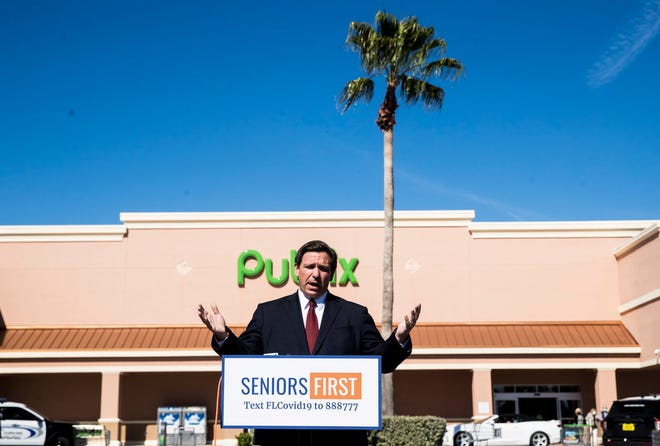 Florida Gov. Ron DeSantis, speaking at a press conference at a Cape Coral Publix on Tuesday, announced that pharmacies in Lee and Charlotte counties will be administering the COVID-19 vaccine.