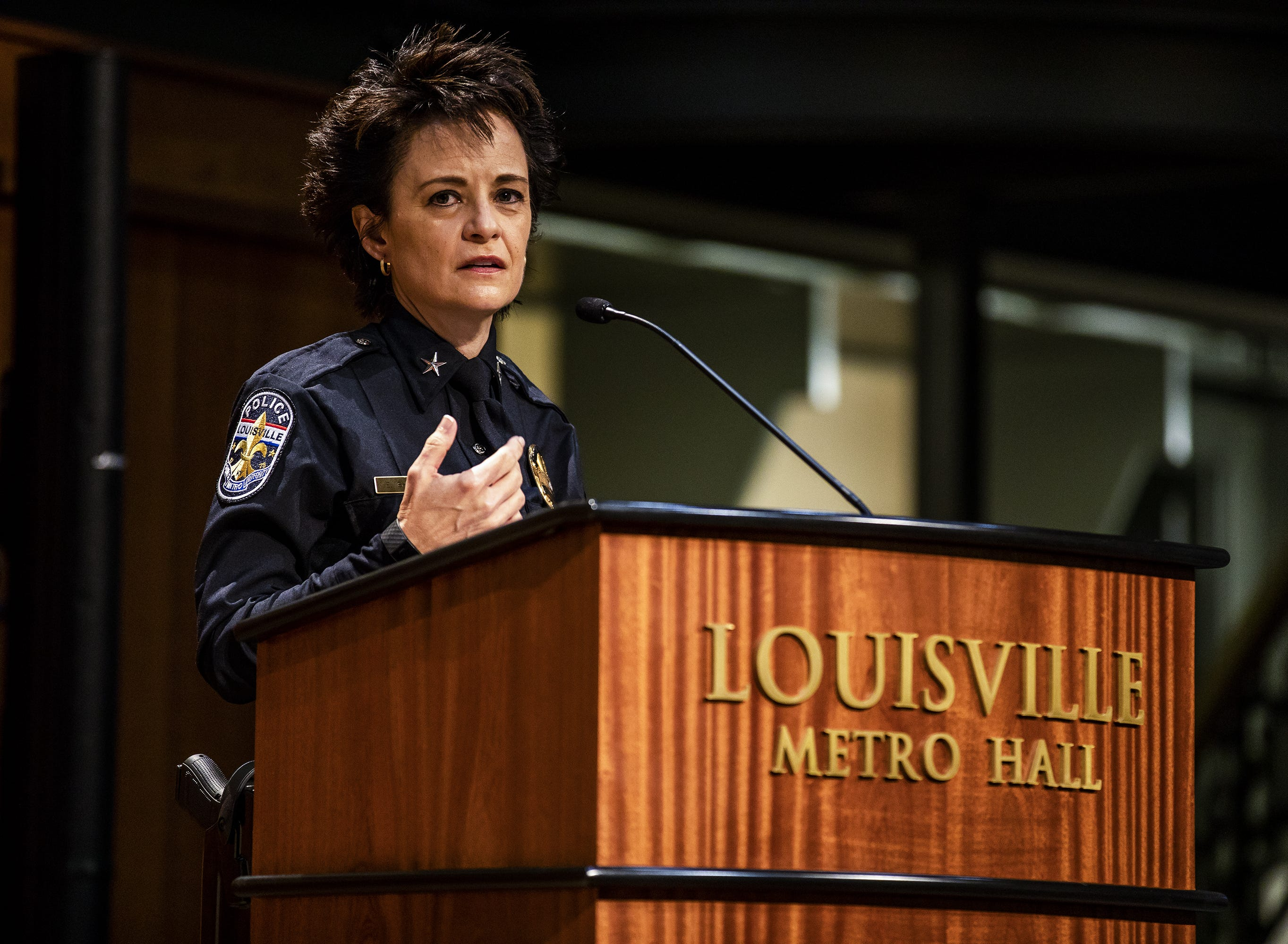 """Chief Erika Shields made some brief comments after being sworn-in as the new LMPD police chief, saying """"I believe in the people here and I believe in the community."""""""