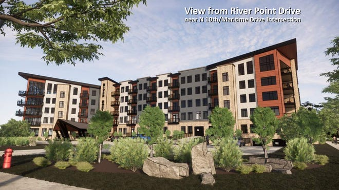 Rendition of new River North Apartments coming to downtown Manitowoc.