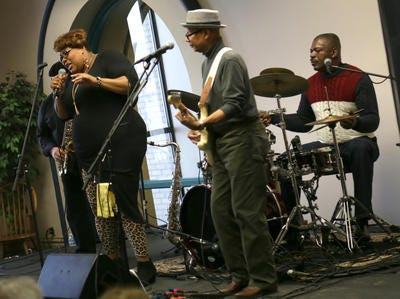 The Mansfield R&B funk band, Alter Ego, performs at the Mansfield/Richland County Public Library as part of the Black History celebration in 2017.