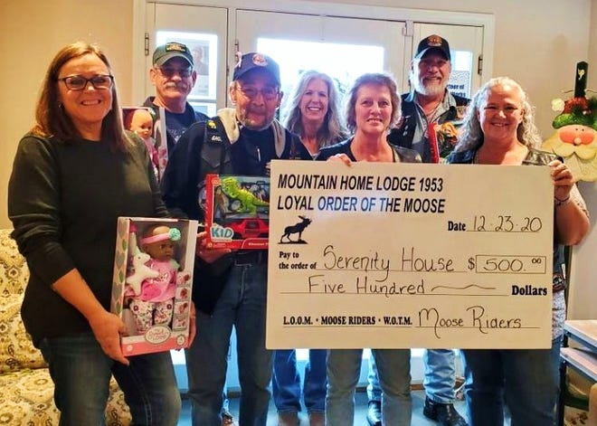 Members of the Moose Riders of Mountain Home Moose Lodge #1953 recently presented a holiday donation in the form of a $500 check and assorted children's toys to the folks at Serenity House domestic shelter. The Moose Riders' spaghetti dinner fundraiser, which normally funds the group's annual donation, was canceled this year due to COVID-19 concerns. However, the group was still able to pull together this donation for the shelter.
