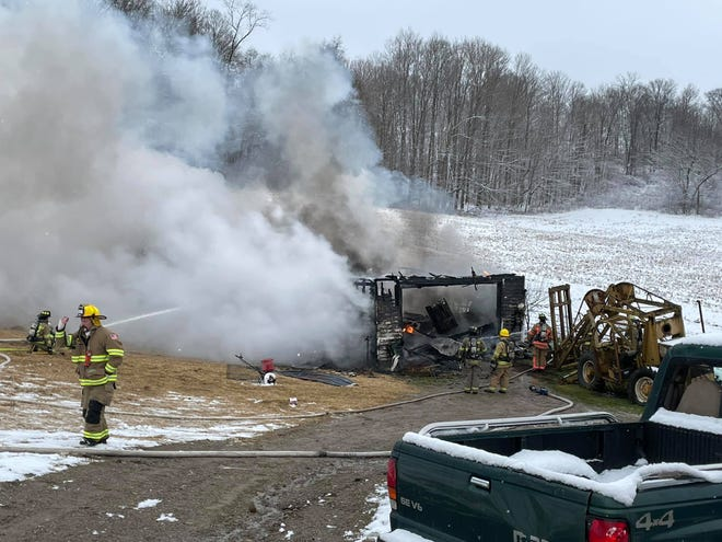 Fire departments responded to a barn fire on National Road on the morning of Monday, Jan. 18, 2021.