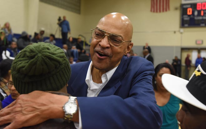 In 2016, coach Curtis March is congratulated as Teaneck High School formally dedicated its basketball court in his name.