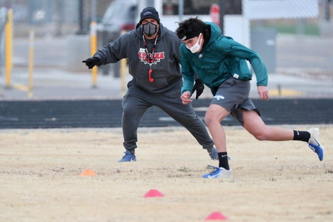While the future of the football season remains unclear, the Las Cruces High football team was among the programs who returned to the practice field in small groups of four athletes to one coach.