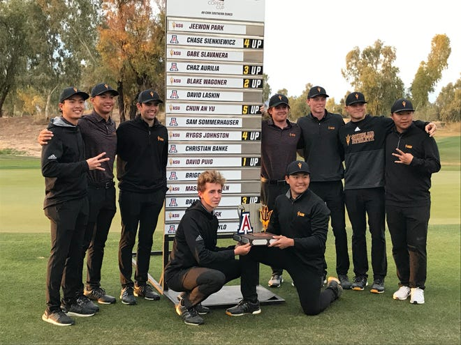 ASU men's golf, ranked No. 1 preseason by Golf Channel, edged No. 18 Arizona by a point to win the inaugural Copper Cup on Monday.