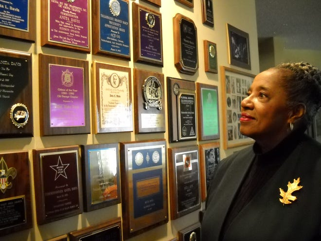 Feb. 15, 2011: Anita Davis at her south side home, where some of the dozens of awards she's won fill a wall. Davis, a Leon County Commissioner from 1990-1996, has been active in civil rights and politics for most of her 74 years