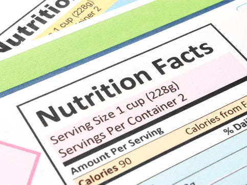 Close up a of nutrition facts label