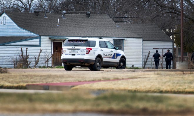 Wichita Falls police searched an alleged assault suspect Tuesday morning.