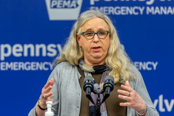 In this May 29, 2020, file photo, Pennsylvania Secretary of Health Dr. Rachel Levine meets with the media at the Pennsylvania Emergency Management Agency (PEMA) headquarters in Harrisburg, Pa. President-elect Joe Biden has tapped Levine to be his assistant secretary of health, leaving her poised to become the first openly transgender federal official to be confirmed by the U.S. Senate.
