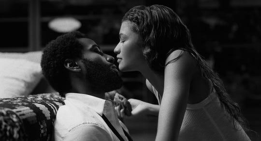 John David Washington and Zendaya in a scene from Malcolm & Marie.