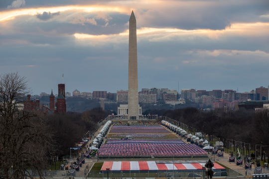 "The National Mall is filled with a ""Field of Flags"" for the 59th Inaugural Ceremonies."