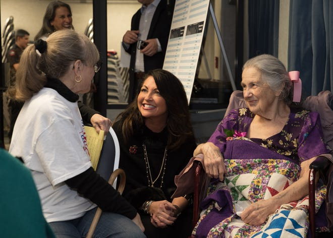 Sarah Lively, right, chats with Morgan Goldbarth, left, and Judge Elisabeth Earle, center, before a meeting of the Austin school board on Dec. 17, 2018, when board members voted to rename Fulmore Middle School in South Austin in her honor. She died Jan. 4 at the age of 88.