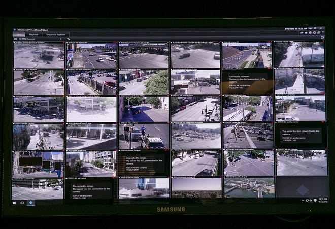 This is a look at screen activity from cameras monitored inside the Real Time Crime Center at police headquarters in downtown Austin Monday morning April 23, 2018. The High Activity Location Observation (HALO) consists of 42 cameras throughout downtown proper and some north in the Rundberg area that are used to monitor activity.RALPH BARRERA / AMERICAN-STATESMAN