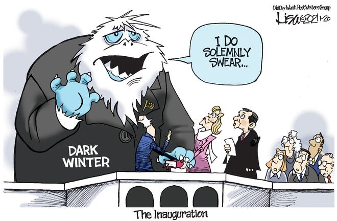Editorial cartoon: Dark winter