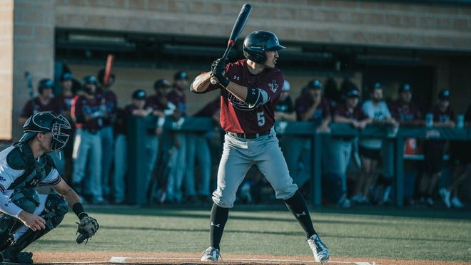 WT's Cade Engle bats during a game during the COVID-shortened 2020 season. Engle continued to prove himself as one of the top outfielders in the Lone Star Conference during the 2020 campaign as the Pampa product hit .315 on the season with five doubles, one triple and two homeruns to drive in 14 RBI with 41 total bases for a slugging percentage of .461.