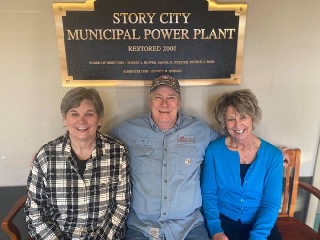 Doretta Hoffman, left, Tim Casperson and Kathy Casperson are retiring after longtime employment at the Story City Municipal Electric Utility.