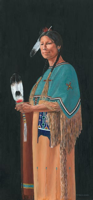 Honoring Her Grandmother's Shawl, painted by Carolyn Mock