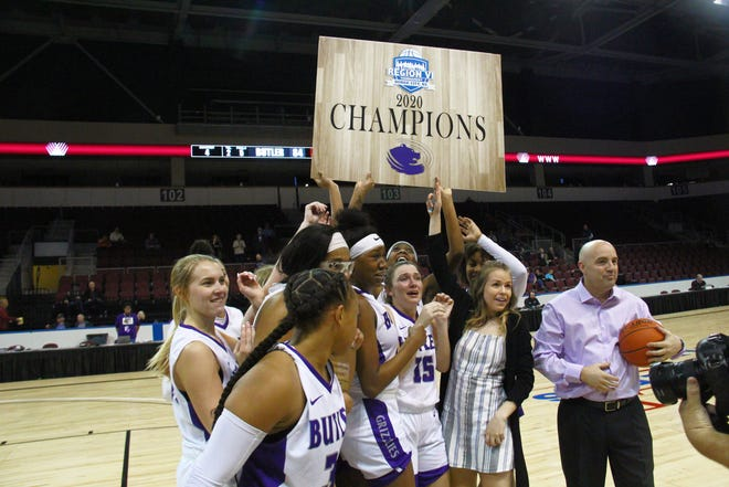 The Butler Grizzlies women's team celebrates winning back-to-back Region VI Championships.  They will once again be favored to win the Region this year.