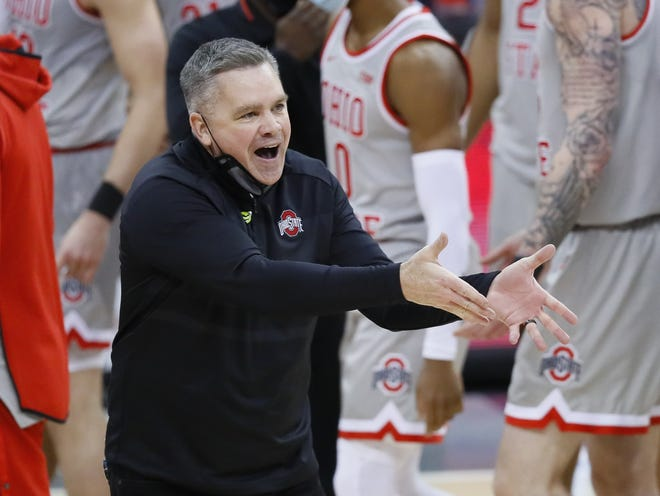 Ohio State Buckeyes head coach Chris Holtmann talks to an official during the second half of the men's basketball game against the Purdue Boilermakers at Value City Arena in Columbus on Tuesday, Jan. 19, 2021. Purdue won 67-65.
