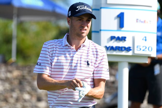 Justin Thomas waits to hit from the first tee during the final round of the Tournament of Champions golf event, Sunday, Jan. 10, 2021, at Kapalua Plantation Course in Kapalua, Hawaii. (Matthew Thayer/The Maui News via AP)