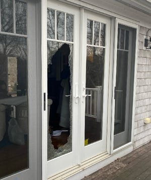 Scene where a suspect broke inside of a South Yarmouth  home on Thursday