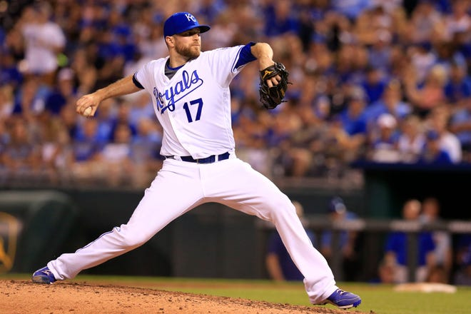 Kansas City Royals relief pitcher Wade Davis throws during a game against the Cleveland Indians on June 13, 2016, at Kauffman Stadium in Kansas City.