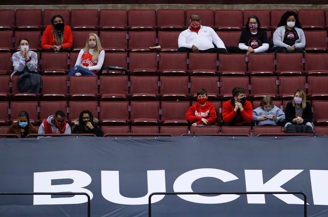 A limited number of fans, mostly family members, were in attendance to watch the men's basketball game between the Ohio State Buckeyes and the Purdue Boilermakers at Value City Arena in Columbus on Tuesday, Jan. 19, 2021. Purdue won 67-65.