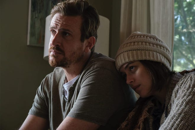 "Jason Segel and Dakota Johnson in a scene from ""Our Friend"""
