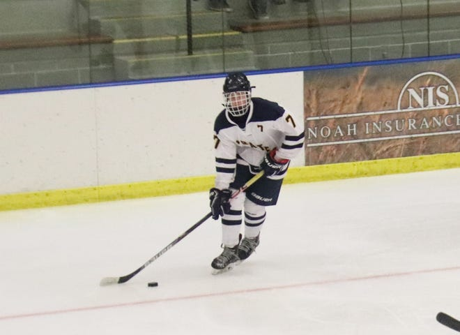 Kaleb Thingelstad in a game against Mounds View on Nov. 22, 2019. Thingelstad scored two goals and had three assists in the Pirates' 7-5 loss at Kittson County Central on Tuesday.