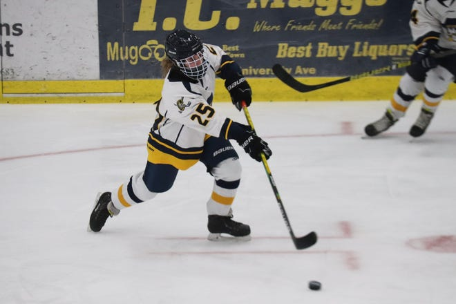 Addie Fee in a game against International Falls on Jan. 19. Fee scored two third-period goals to seal Crookston's 4-1 win over Northern Lakes Friday.
