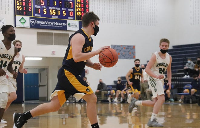 Jacob Hesby in a game against Roseau on Jan. 19. Hesby led Crookston with 12 points against Warroad on Thursday.