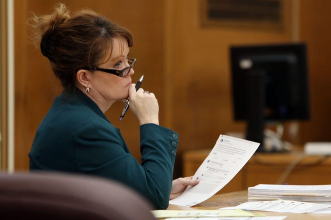 Des Moines County Attorney Lisa Schaefer sits in the third-floor courtroom of the Des Moines County Courthouse Jan. 21, 2020, as Steven Mauck is sentenced to 25 years in prison after being found guilty of second-degree sexual assault. For the second year in a row, Des Moines County Attorney Lisa Schaefer asked for raises for her staff beyond the typical 2% raises received by non-union employees whose salary is not tied to that of their boss.