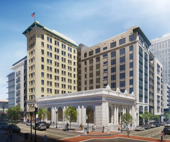 A rendering shows the restored Laura Street Trio with a new building next to them. The four buildings will be wrapped into a Marriott Autograph Collection Hotel with restaurants and stores at street level.