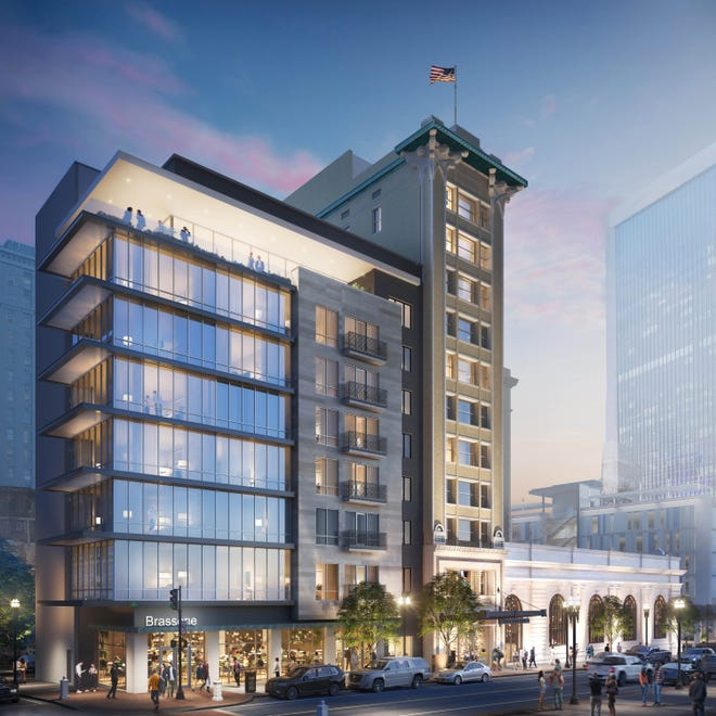 The Downtown Development Review Board on Thursday unanimously approved the conceptual design for restoring the historic Laura Street Trio and combining it with new construction for a downtown hotel. In this rendering from SouthEast Group, the new eight-story building is next to the 11-story Florida Life Insurance Building.