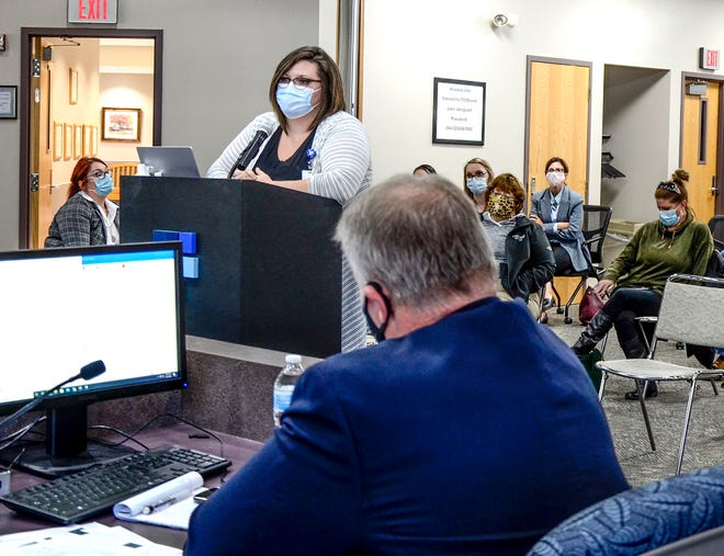 Colleen Drees, Finney County Health Department director, speaks to the Finney County Commission Nov. 2 during a meeting. [MEGHAN FLYNN/GARDEN CITY TELEGRAM]
