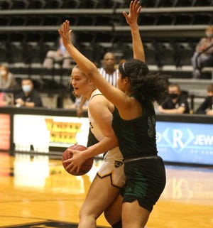 Fort Hays State's Jessie Sallach looks to score in the post last Thursday against Northwest Missouri State.