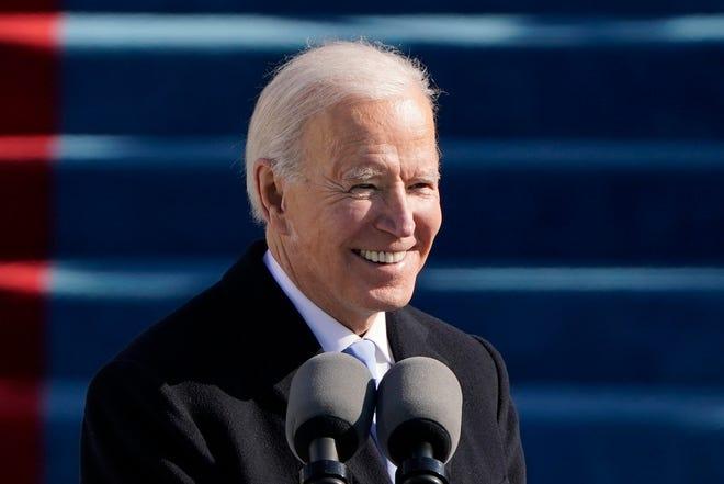 O Presidente Joe Biden discursa durante a cerimónia da sua tomada de posse, no Capitólio, em Washington, a 20 de Janeiro de 2021. (Foto da Associated Press/Patrick Semansky, Pool)