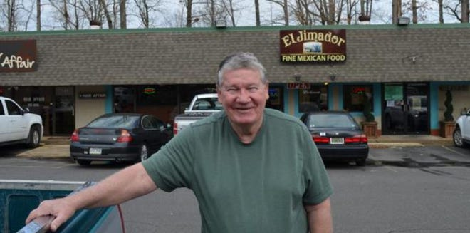 "Randall ""Duke"" Cunningham stands outside El Jimador in Hot Springs Village, Ark. in April 2015."