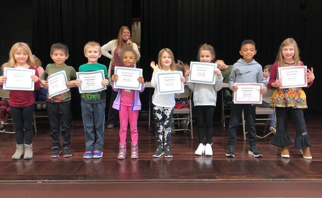 Kindergarten:  Joey Bentzen, Ryan Shen, Mason Henry, Amara Parker, Madison Orr, Hannah Ball, Ezra Leavens and Abbey Simpson