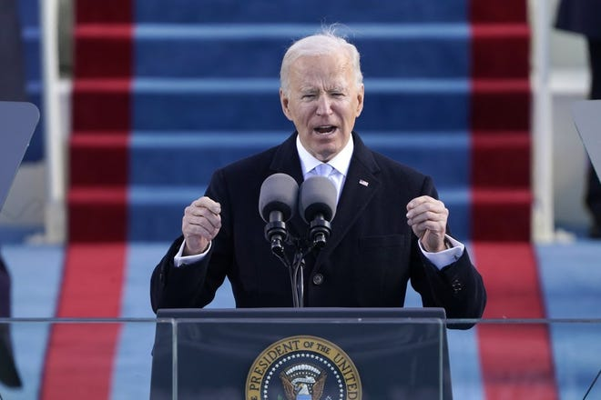 President Joe Biden speaks during the 59th Presidential Inauguration at the U.S. Capitol in Washington on Wednesday, Jan. 20, 2021.