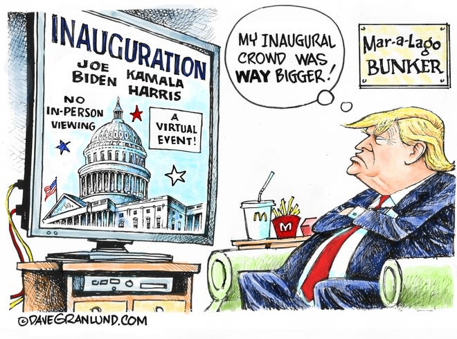 Dave Granlund cartoon on Trump viewing inauguration from Mar-A-Lago