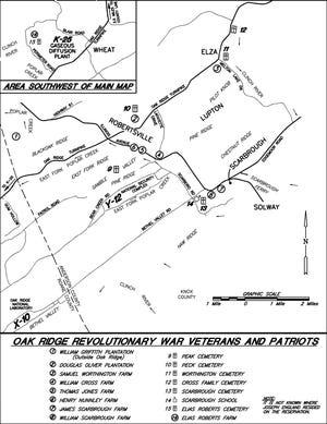 Map of Revolutionary War soldiers buried in cemeteries in Oak Ridge.