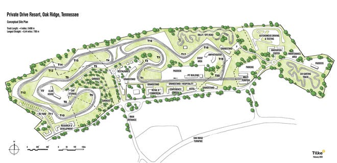 A conceptual site plan of the proposed motorsports park complex at Horizon Center in west Oak Ridge.